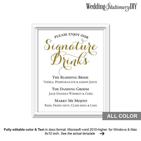 wedding drink menu template free gold wedding signature drink sign printable 2534323
