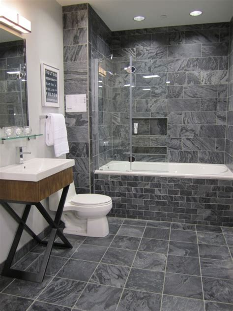 Polished slate tiles contemporary bathroom sherwin williams