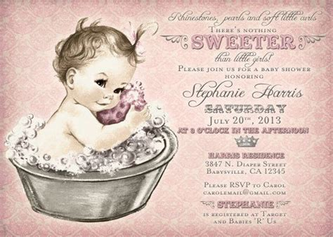 vintage baby shower invitation for baby bath pink
