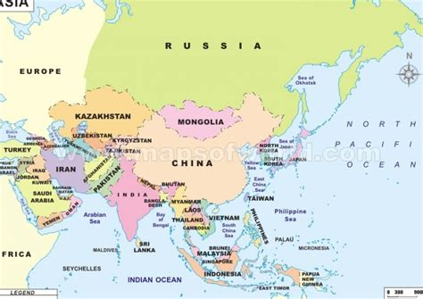 political map of asia east asia map political