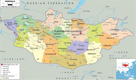 a map of political map of mongolia ezilon maps