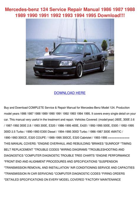 car service manuals pdf 1988 mercedes benz e class engine control mercedes benz 124 service repair manual 1986 by corneliusburt issuu