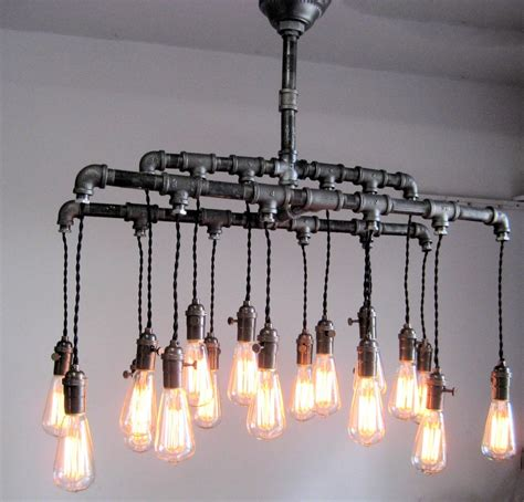Diy Industrial Chandelier Industrial Custom Rustic Pipe And Cloth Cord Chandelier