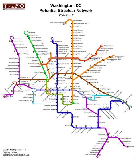 washington dc tram map track twenty nine revised streetcar map memes