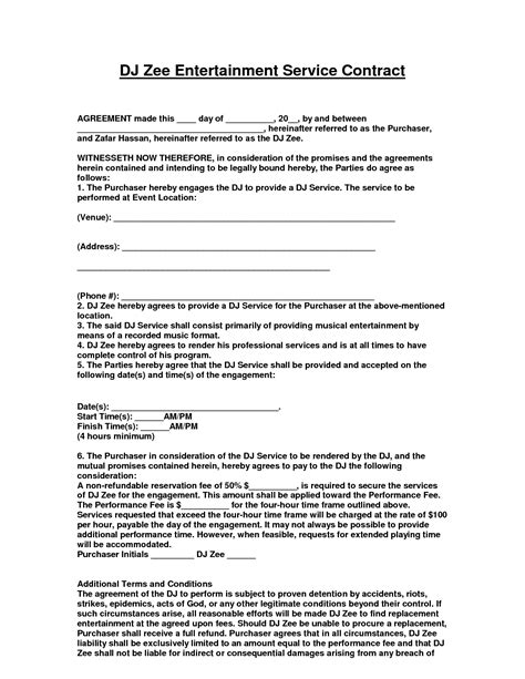 Entertainment Contract Template Cooperative Snapshot Awesome Collection Of Agreement D J Entertainment Manager Contract Template