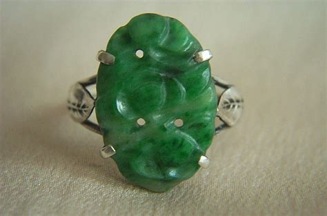fabulous sterling antique carved jadeite jade ring size 6
