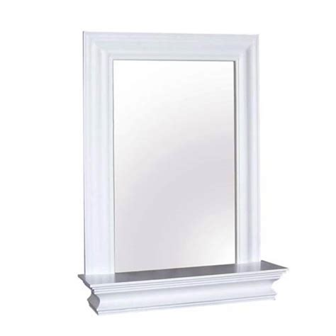 stratford white wall mirror with shelf home