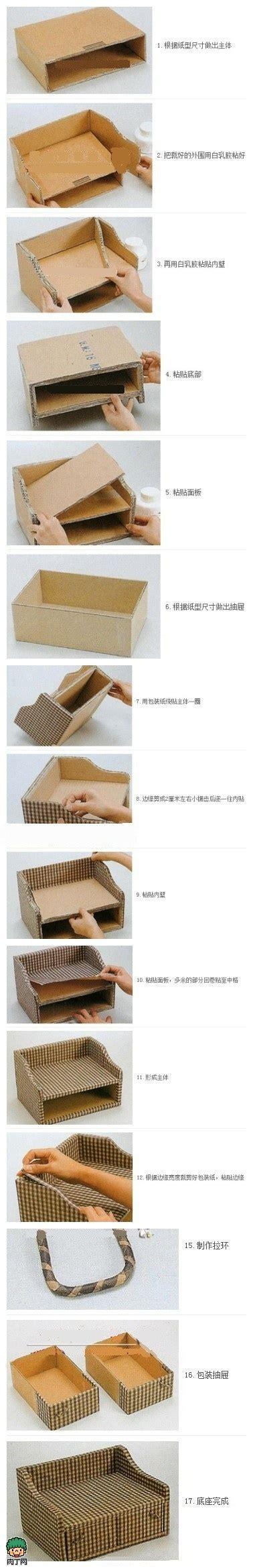 Diy storage box old cardboard cloth diy cardboard storage