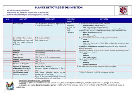 plan de nettoyage et de d駸infection cuisine plan de nettoyage et de desinfection cuisine 28 images