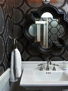 black and silver bathroom wallpaper black quatrefoil mirror contemporary bathroom hgtv