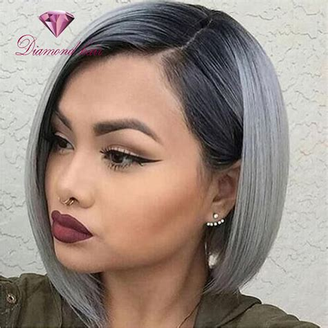 hair color grey in front 150 density high quality grey ombre brazilian wig 1b gray