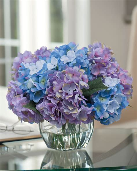 blue hydrangea flower arrangements easily decorate with hydrangea silk flower centerpiece at