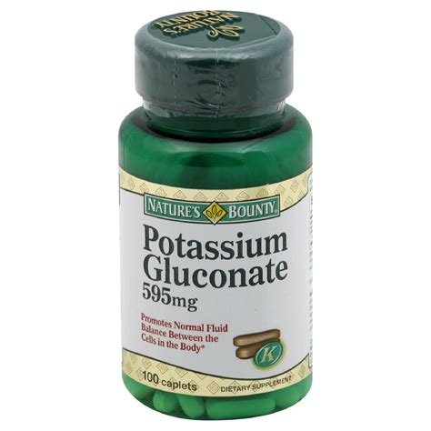 supplement potassium nature s bounty potassium gluconate 595 mg 100 caplets