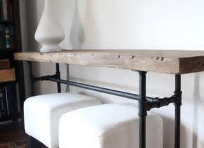 console table with bench underneath skinny reclaimed wood and metal pipe sofa table with