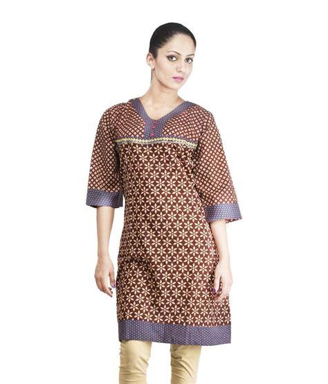 Rama Brown rama brown printed cotton 3 4th sleeves medium kurti buy