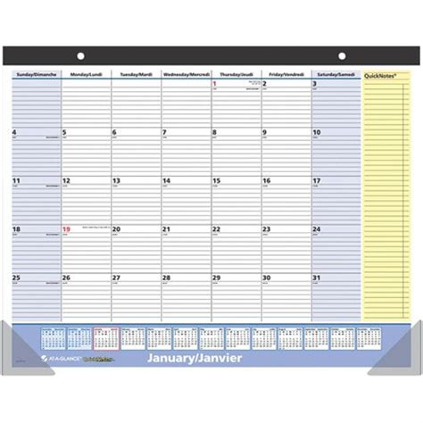 Calendrier Bureau Calendrier Mensuel Mural Bureau Quicknotes 174