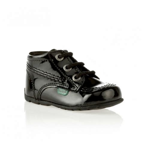 Kickers Boots Prepet Black kickers kick hi babies patent leather boots black shuperb