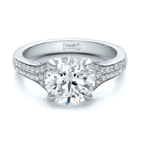 Handcrafted Engagement Rings - custom micro pave engagement ring 100571