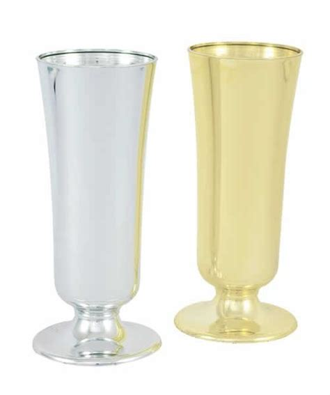 plastic flower vases in gold 8 quot wholesale flowers and