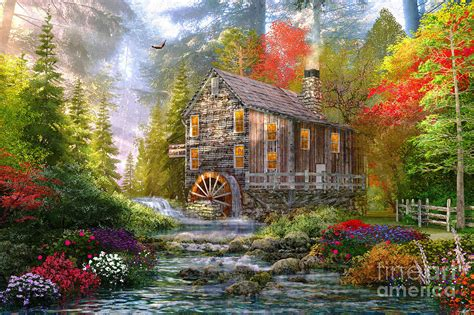 Country Cottage Cross Stitch the old wood mill digital art by dominic davison