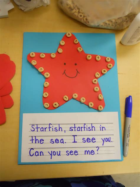 starfish pattern for kindergarten starfish craft and poem this would also be fun as a