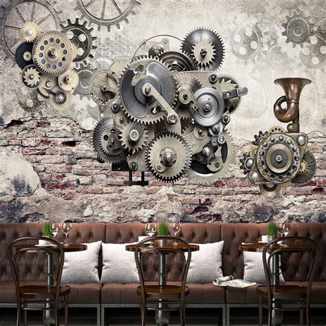 compre custom mural industrial wind