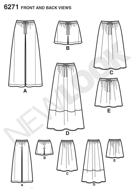 pattern new line new look 6271 misses skirt in three lengths and pants or