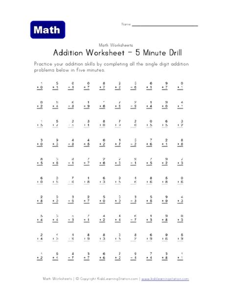 Math Drill Worksheets by Addition 187 Addition Worksheets Speed Drills Free Math
