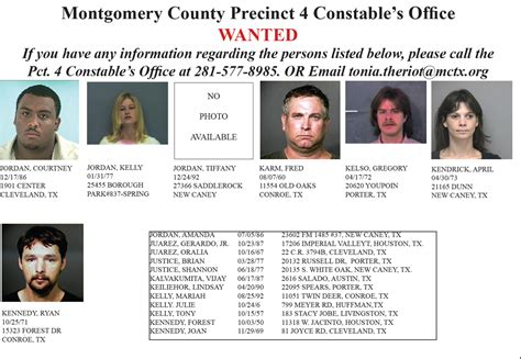 Warrant Search Montgomery County Tx Precinct 4 Wanted For Open Warrants