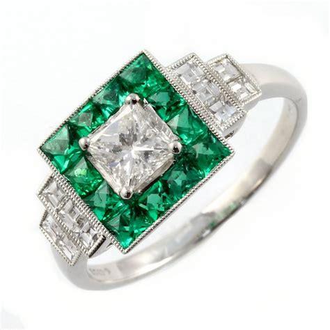 platinum emerald square deco style ring