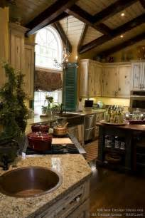 French country kitchen vaulted ceilings shutters chandelier and