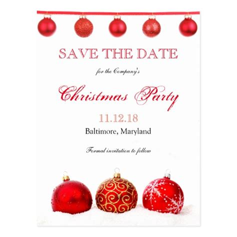 save the date holiday party free template modern ornaments save the date postcard zazzle