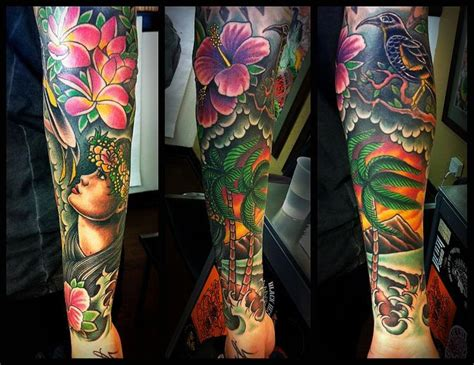 tropical tattoo sleeve absolutely beautiful coloring on this one hawaiian sleeve