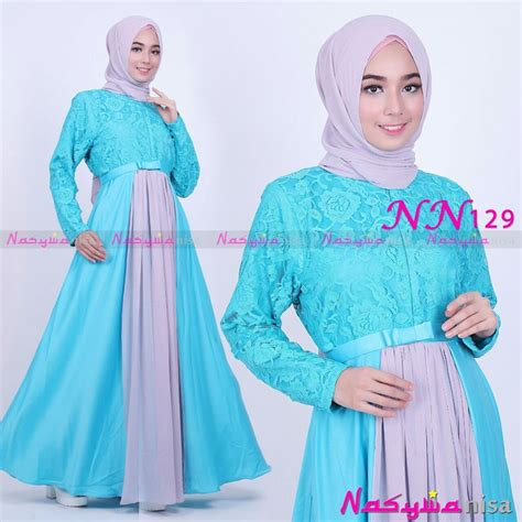 Sale Dress Biru Twiscon Mix Brukat nasywanisa jual busana muslim