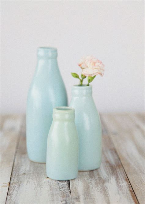 small duck egg blue milk bottle vase felt