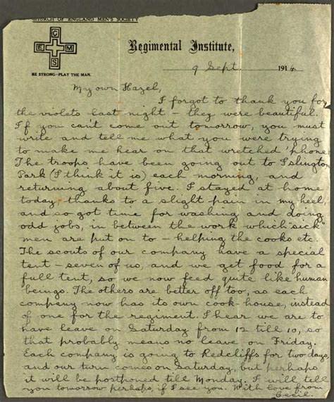 1 Page Essay Describe How Ww1 Was A Costly And Global War by Letter To Hazel 9 Sept 1914 Cecil Malthus World War I Papers Letters Telegrams
