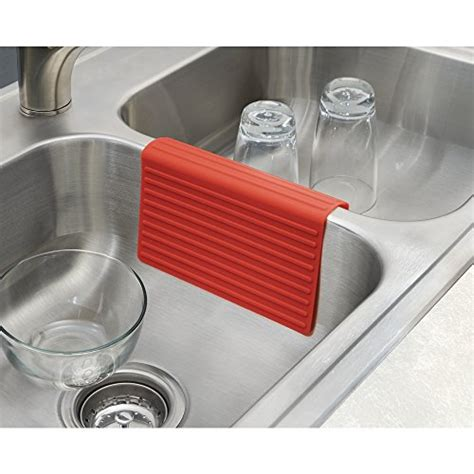 kitchen sink protector mdesign silicone kitchen sink protector mat and divider set of 2 red new ebay