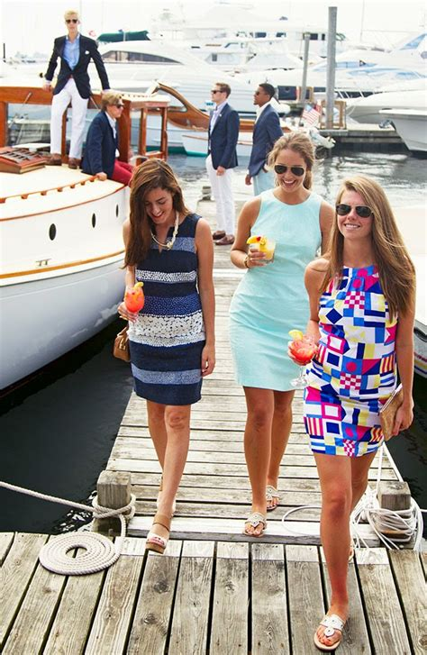 yacht party outfit classy girls wear pearls boating up to the mooring