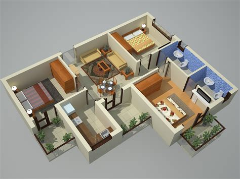 home plan design 3 bhk 3d view earth infrastructure noida extension residential