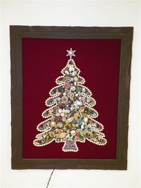 vintage rhinestone costume jewelry christmas tree picture