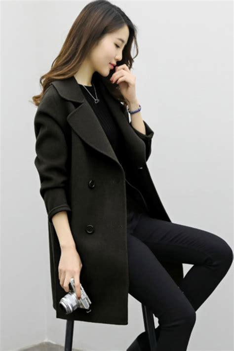 Jaket Wanita Black Import jaket wool import coat korea style big size
