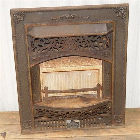 vintage cast iron fireplace insert ornate gas heater