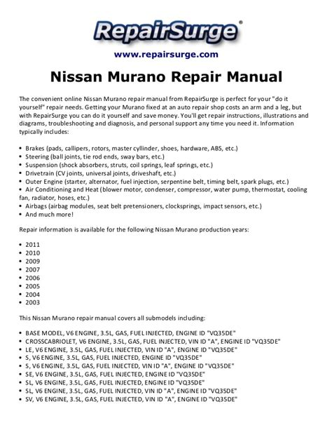 nissan murano repair manual 2003 2011