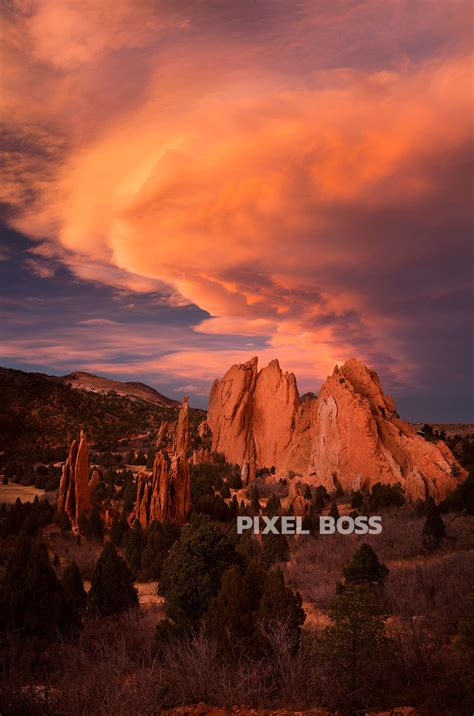 Gods Garden Colorado by Garden Of The Gods Vermillion Sunset Vertical Pixel Ultra High Resolution Stock Photography