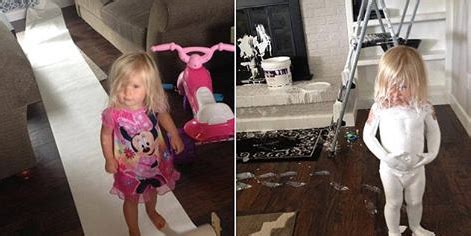 mischievous  girl covers   paint leaves footprints   familys house  sale