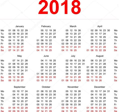 Calendar 2018 Illustration 2018 Calendar Template Vertical Weeks Day Monday