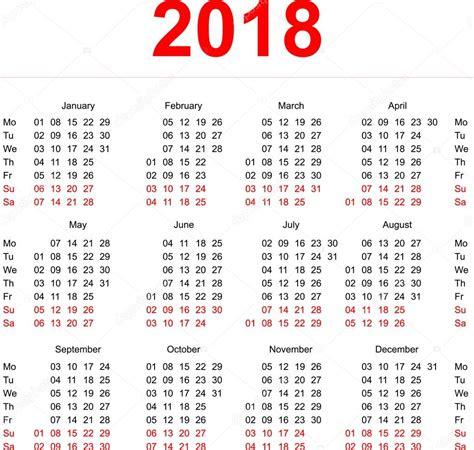 Calendã Semanas 2018 2018 Calendar Template Vertical Weeks Day Monday