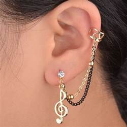one ear earring prom note gold plated clip ear cuff chain stud earring ebay