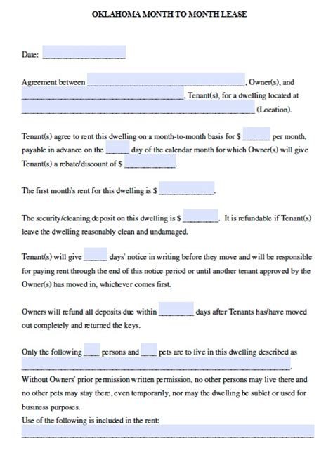 free oklahoma month to month lease agreement pdf template