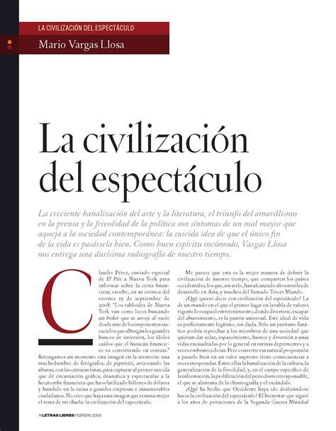 la civilizacion del espectaculo la civilizacion del espectaculo by nicolas parra gutierrez issuu
